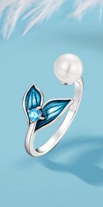 Blue Mermaid Tail Ring