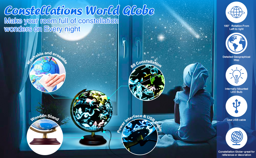 Constellations World Globe Wipeable Wooden base LED lights