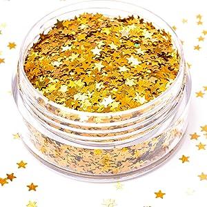 gold star shaped glitter