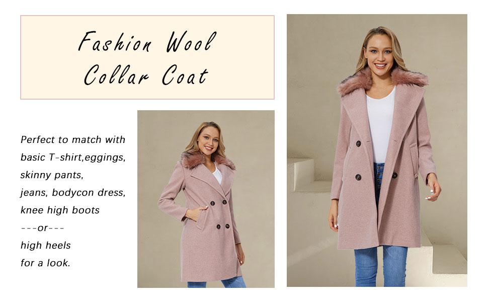 Women's Faux Woolen Fleece Trench Coat, The Overcoat with Detachable Fur Collar