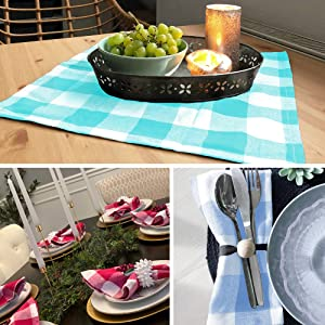 Pink Plaid Napkins - Checked Dinner Napkins - Cloth Napkins for Kids - Buffalo Checked Napkin