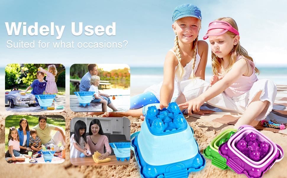 Beach sand toys foldable sand pail
