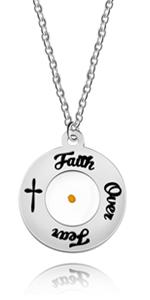 Faith Over Fear Necklace Round