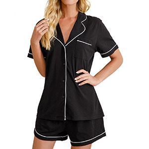 Pajamas Set Short Sleeve Sleepwear Womens Button Down Nightwear Soft Pj Lounge Set
