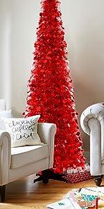Joy-Leo 6ft Pop Up Chrismtas Tree - Red