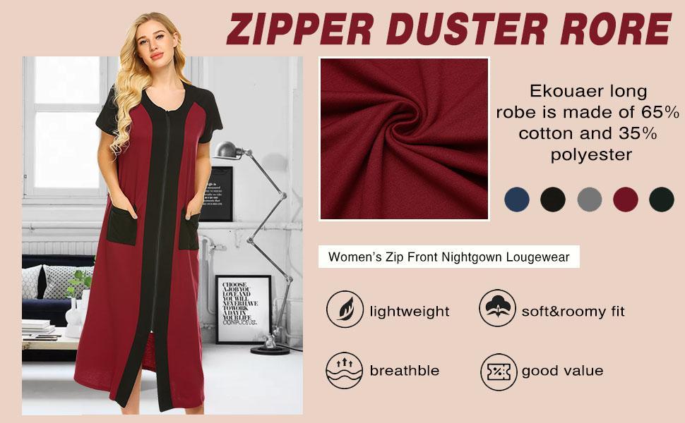 zipper duster robe for women