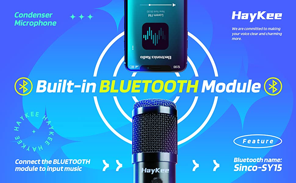 Built-in BLUETOOTH Module. Connect the BLUETOOTH module to input music. Bluetooth name: Sinco-SY15