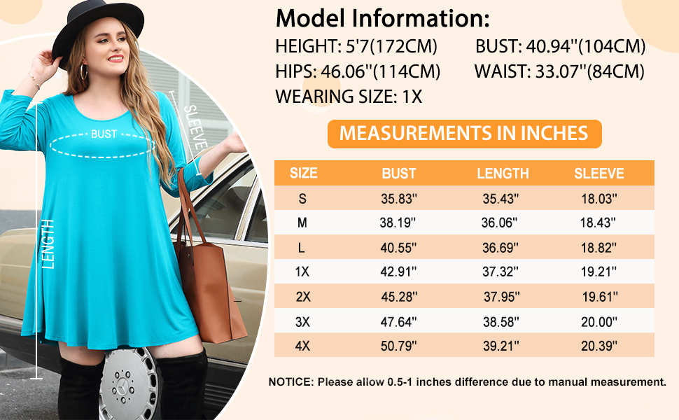 All-match fall dress size chart