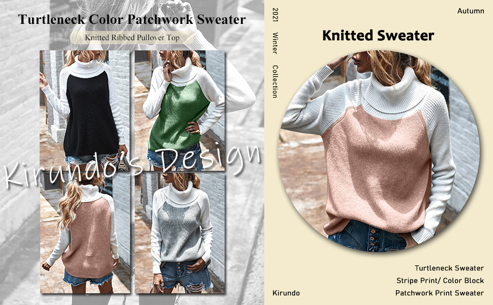 Turtleneck Long Sleeves Color Patchwork Knitted Ribbed Sweater Knitted Pullover