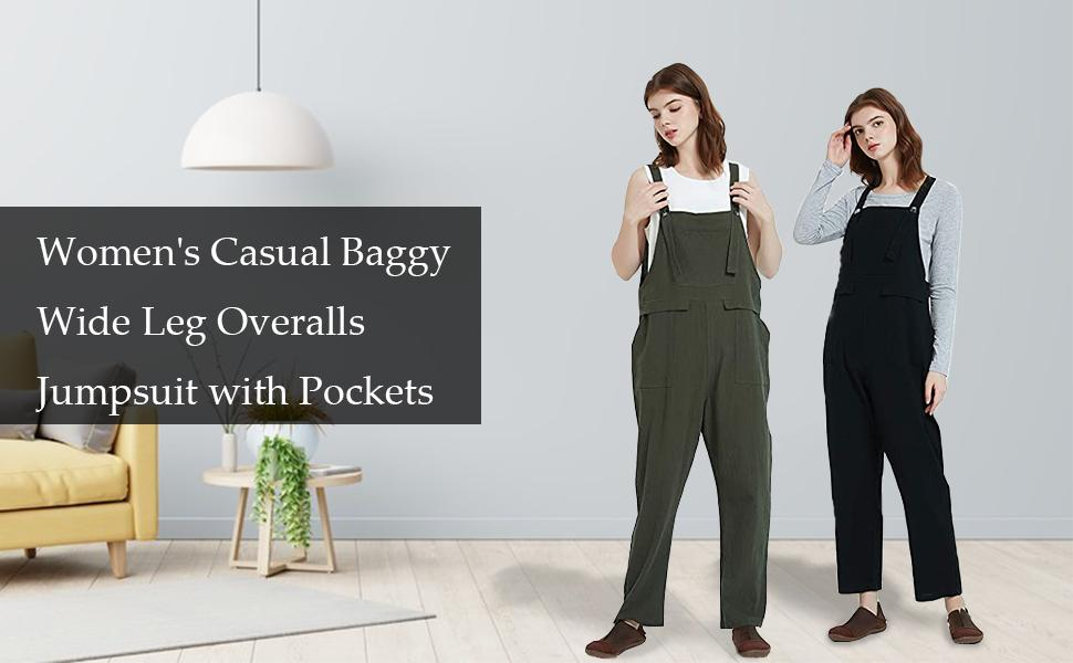 Women's Casual Baggy Wide Leg Overalls Jumpsuit with Pockets