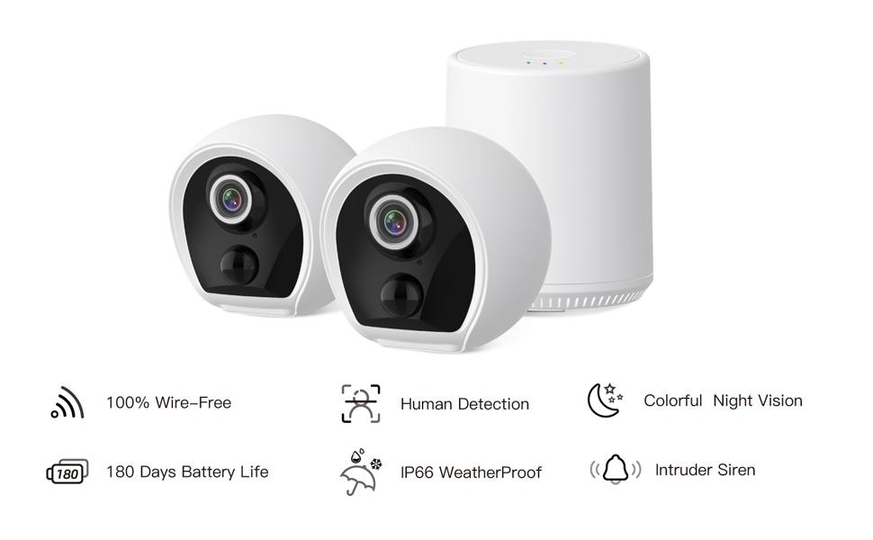 Wirefree battery powered security camera kit PIR motion detection sd card cloud storage video