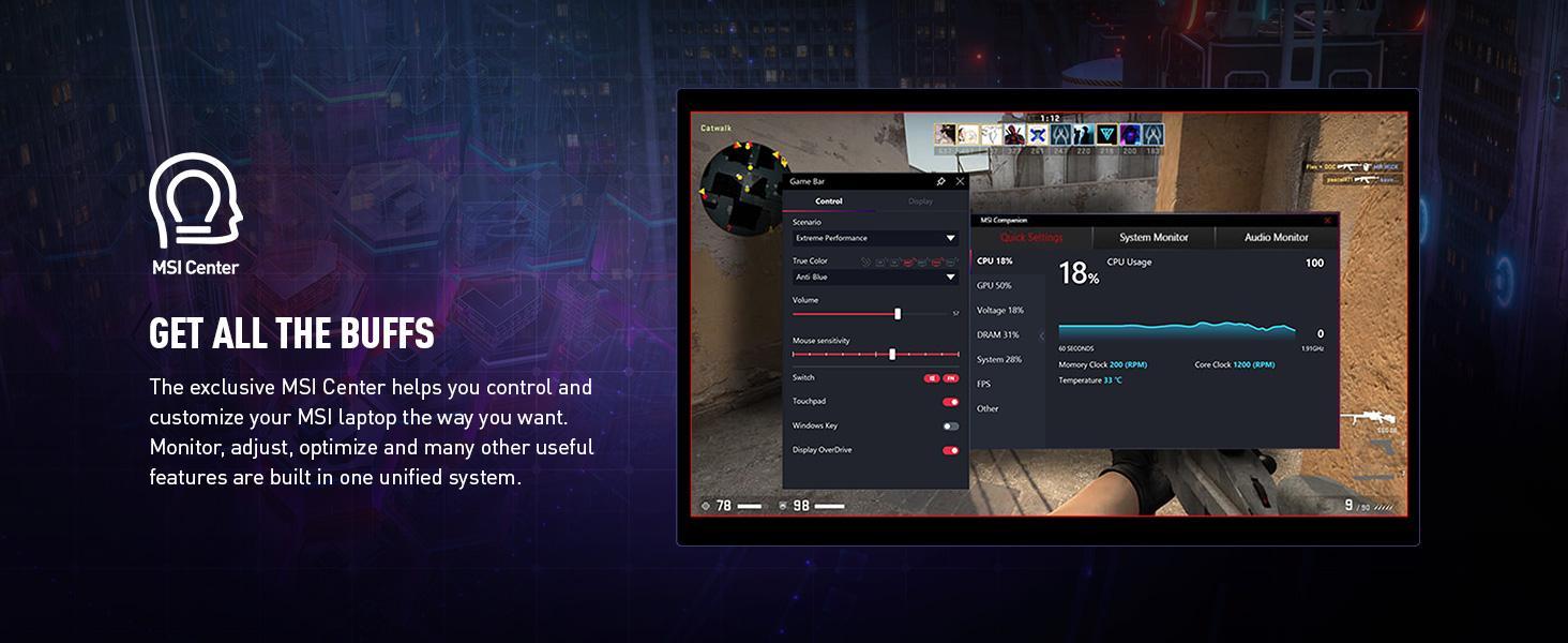 msi center customizability optimization for game s