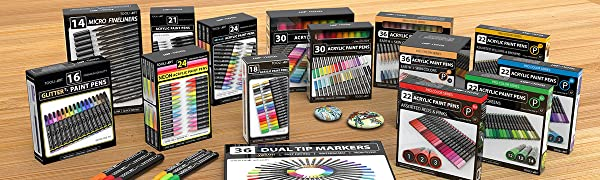 Tooli-Art has a wide variety of acrylic and pigment based pen sets for all creative needs