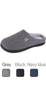 HomeIdeas Mens Classic Memory Foam Plush House Slippers, Comfortable Anti-slip Shoes