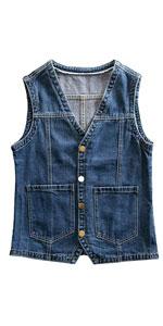 Buttoned denim vest