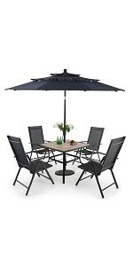 Outdoor Patio 5 Pieces Dining Set with 1 Umbrella