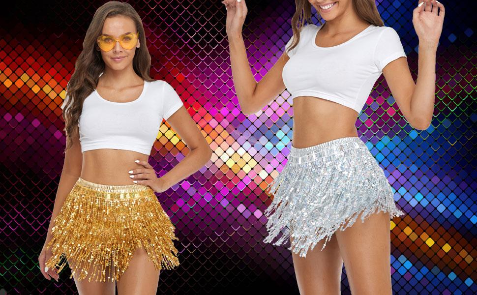 women's dressing gold metallic shorts silver fringe skirt are dancing disco style