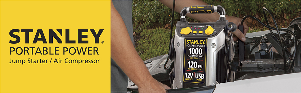 Stanley portable power jump start and air compressor.