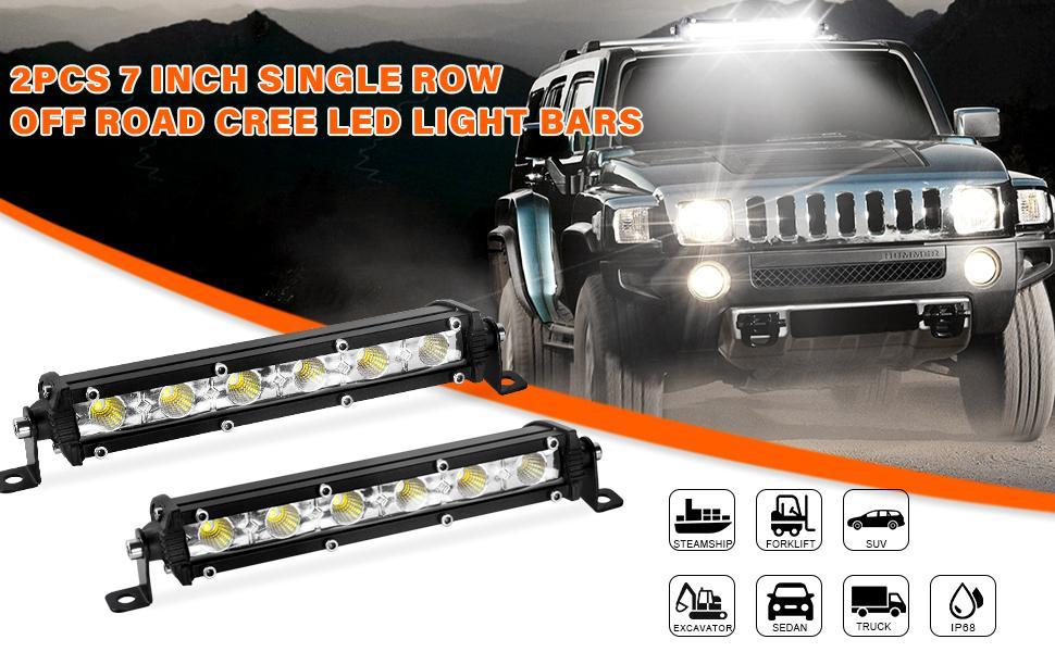 single row light bar, 2 pcs, 7inch, 18w, flood light