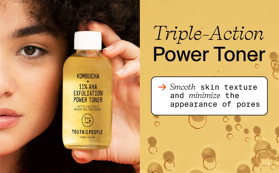 Kombucha triple action power toner to help smooth skin texture and minimize pore appearance