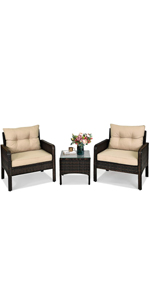 3 Pieces Patio Furniture Set Outdoor Rattan Conversation Set