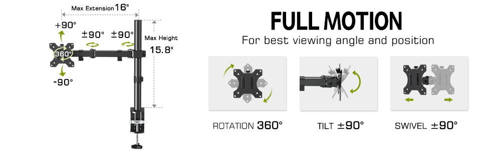 Full Motion Single Monitor Stand