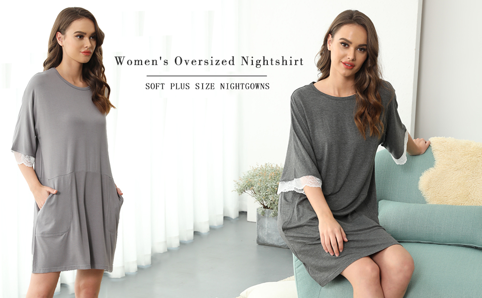 Women loose oversize nightgowns