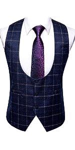 U Neck Vest Ties SeBlue Vest and Purple Ties