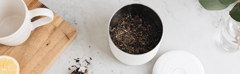 Tea Leaves inside of Matte White Atmos Vacuum Canister