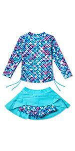 girls long sleeves swimsuit rashguard