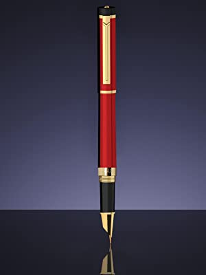 New Sealed Dryden Designs Luxury Fine Nib Black Gold Fountain Ink Pen Gift Bag