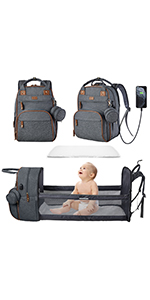 diaper bag with changing station travel foldable baby bed baby diaper backpack