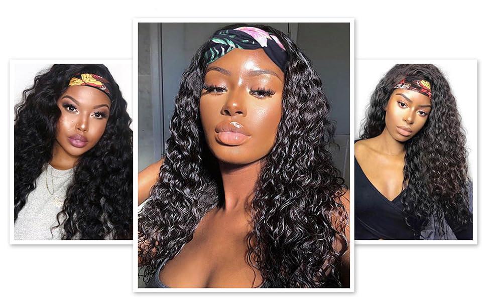 headband wigs human hair water wave