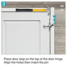 stop on the top of door hinge, align the holes then insert the pin