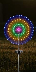 solar firework lights colorful