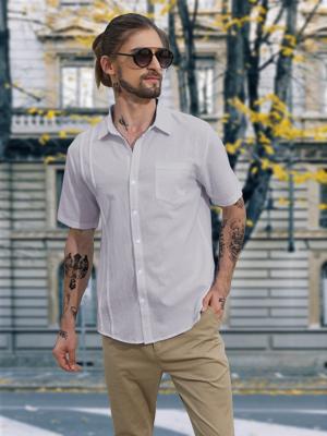 LVCBL Mens Short Sleeve Band Collar Linen Shirt Button Down Beach Shirts