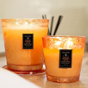 Spiced Pumpkin Latte 2 Wick and 3 Wick Glass Hearth Candles