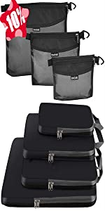 BAGAIL 6 Set Packing Cubes + 3 Ultra-light Water-resistant Zipper Pouch Travel Packing Bags