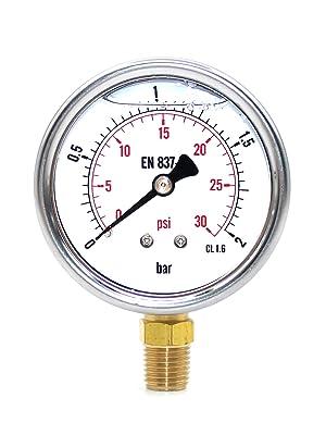 Front view of pressure gauge 0-30psi