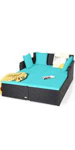 Outdoor Rattan Daybed Sofa Set