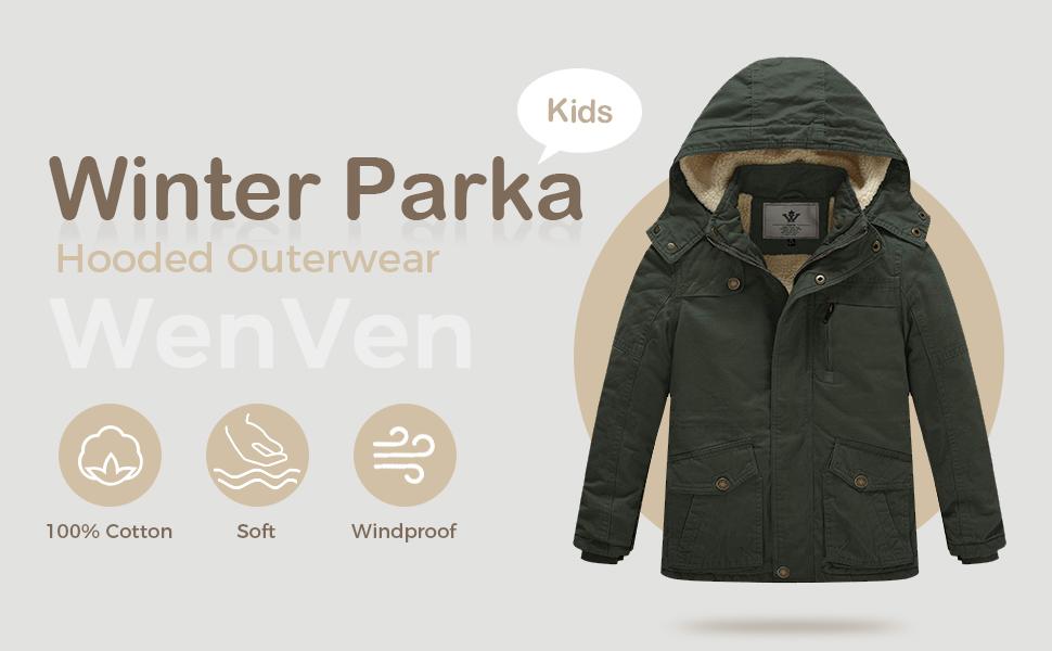 kids winter parka hooded outerwear
