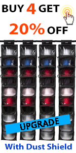 (4 Pack) STEVOY Hat Rack with Dust Shield