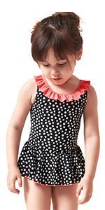 Toddler Girls One Piece Skirt Swimsuit Black White Polka Dots Swimwear Dress Ruffled Bathing Suit