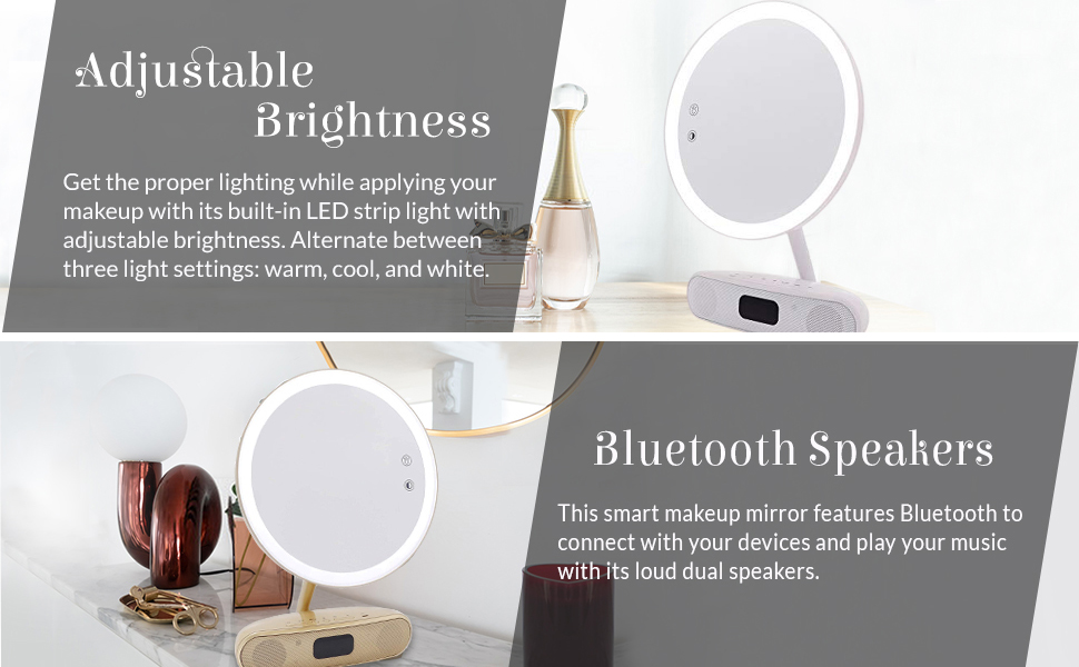 dimmable brightness three color option warm cool white bluetooth speaker dual listening song