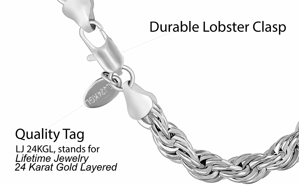7mm white gold plated rope chain bracelet for men and women