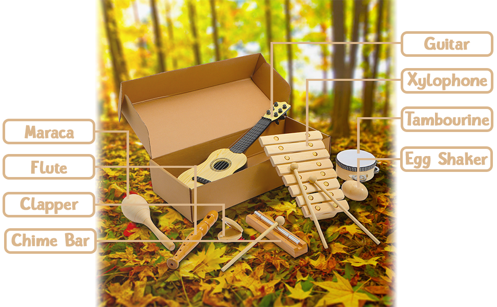 wooden musical instruments set