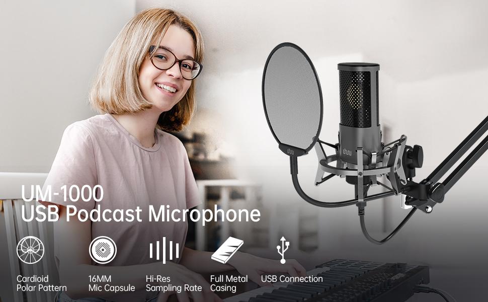 UHURU UM-1000 USB Podcast Microphone Kit