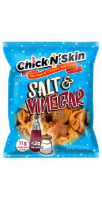 Crispy fried chicken skins -salt vinegar keto low carb high protein chips gluten free snacks