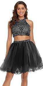 Halter Beaded Homecoming Dress 2 Piece