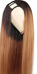 straight u part wig ombre brown